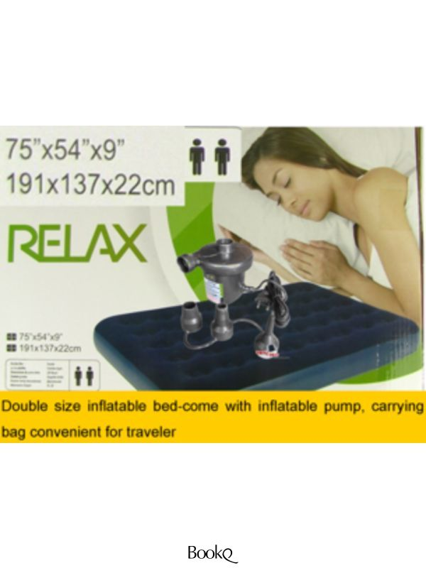 Inflatable Double Air Bed Mattress With Electric Air Pump Waterproof Flocked Velvet surface